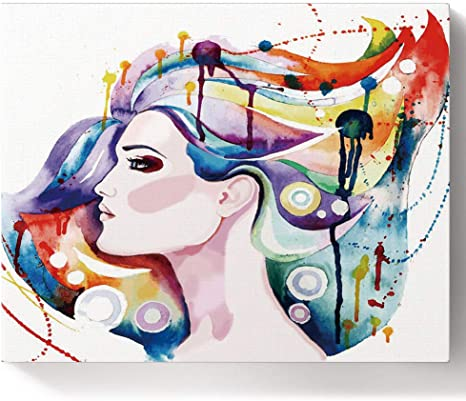 Woman in Hat Colorful Painting On Canvas Paint By Your Own DIY Kit Oil Wall Art Decoration Paint By Numbers For Adults Beautiful Acrylic