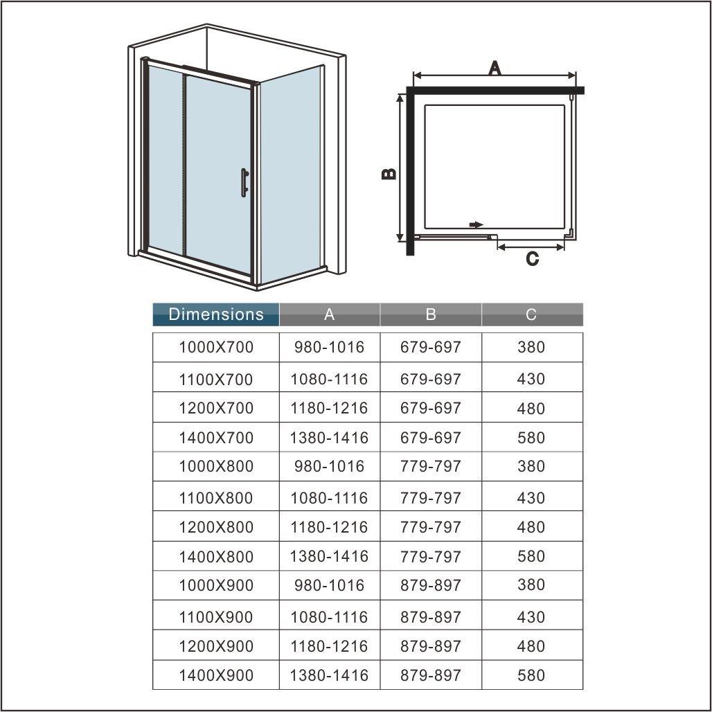 Box Doccia 110x185cm Per Nicchia Porta Bagno Scorrevole Cristallo Temperato Trasparente Alta 185cm Larga 110cm