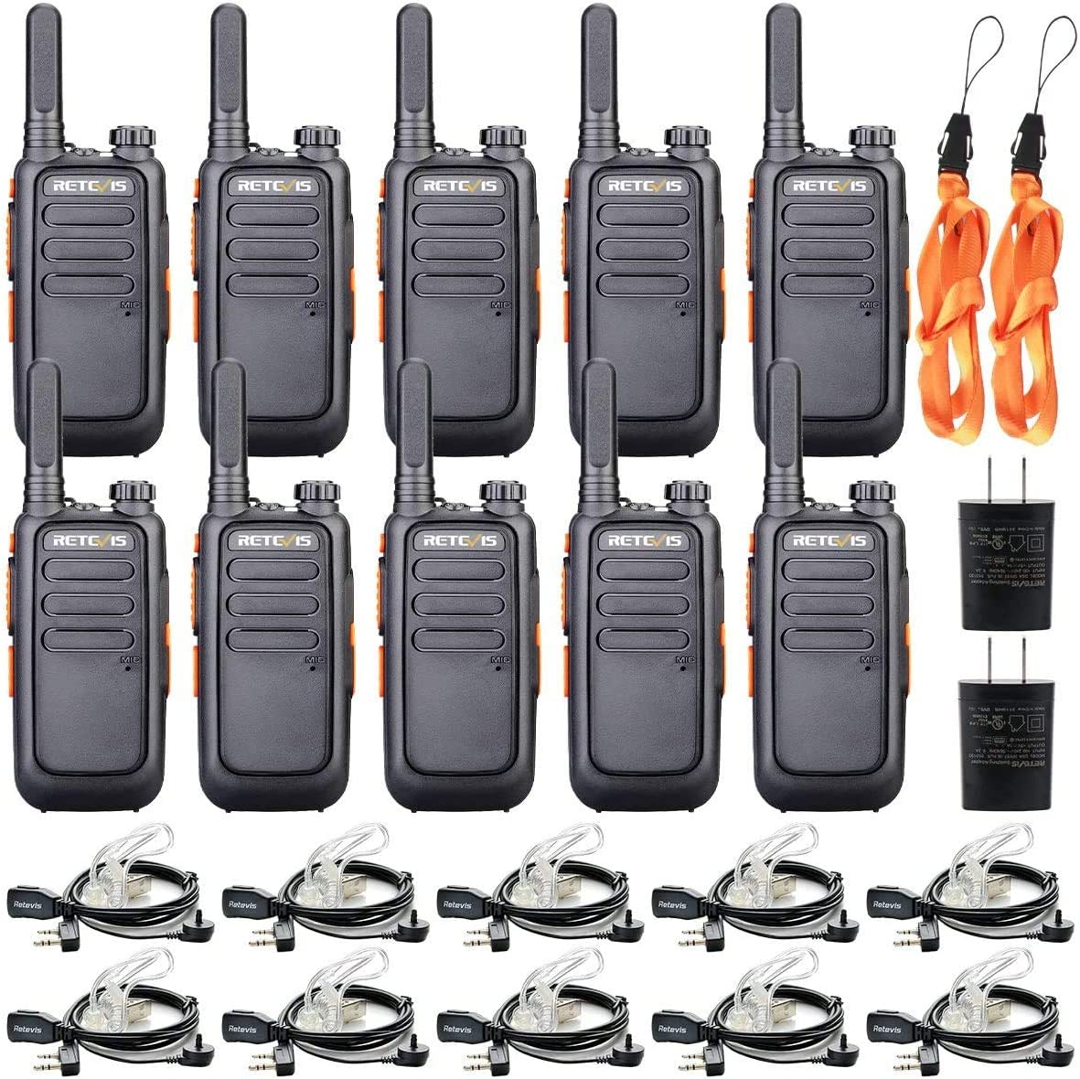 Retevis RT69 Walkie Talkies with Earpieces 10 Pack,Two-Way Radios Rechargeable,Mini Small Channel Lock VOX Flashlight,2 Way Radios Long Range