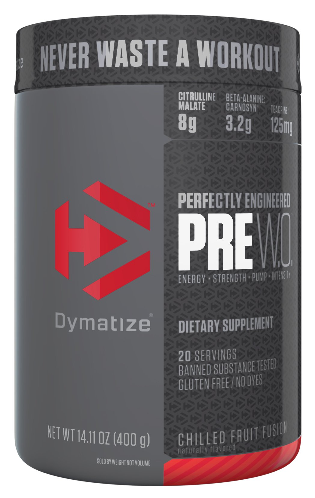 Dymatize Pre Workout Supplement Powder, Maximize Energy & Strength, Chilled Fruit Fusion, 400 Gram by Dymatize