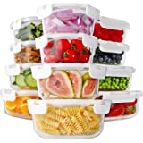 Bayco 24 Piece Glass Food Storage Containers with Lids, Glass Meal Prep Containers, Airtight Glass Lunch Bento Boxes, BPA Fre