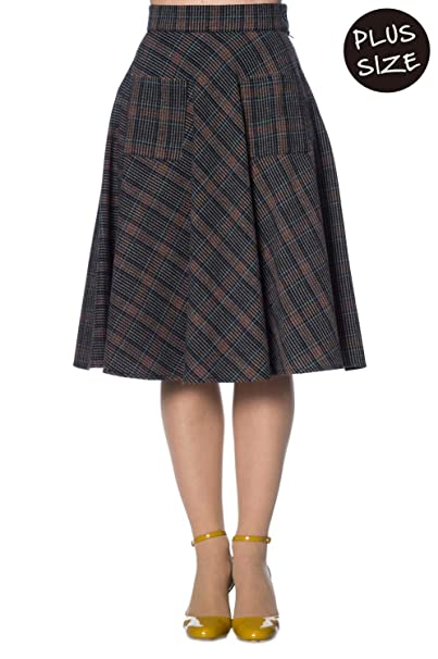 870f265ae1 Banned Plus Size Claire Vintage Retro Check Skirt - UK-22 Brown: Amazon.co. uk: Clothing