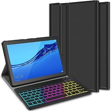 ELTD Funda con Teclado Español Ñ para Huawei MediaPad T5 10 10.1, Teclado inalámbrico 7 Colores Cubierta de Teclado retroiluminada de Tres ...