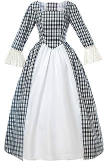 Colonial Girl Costume Prairie Medieval Pioneer Civil War Women Peasant Dress