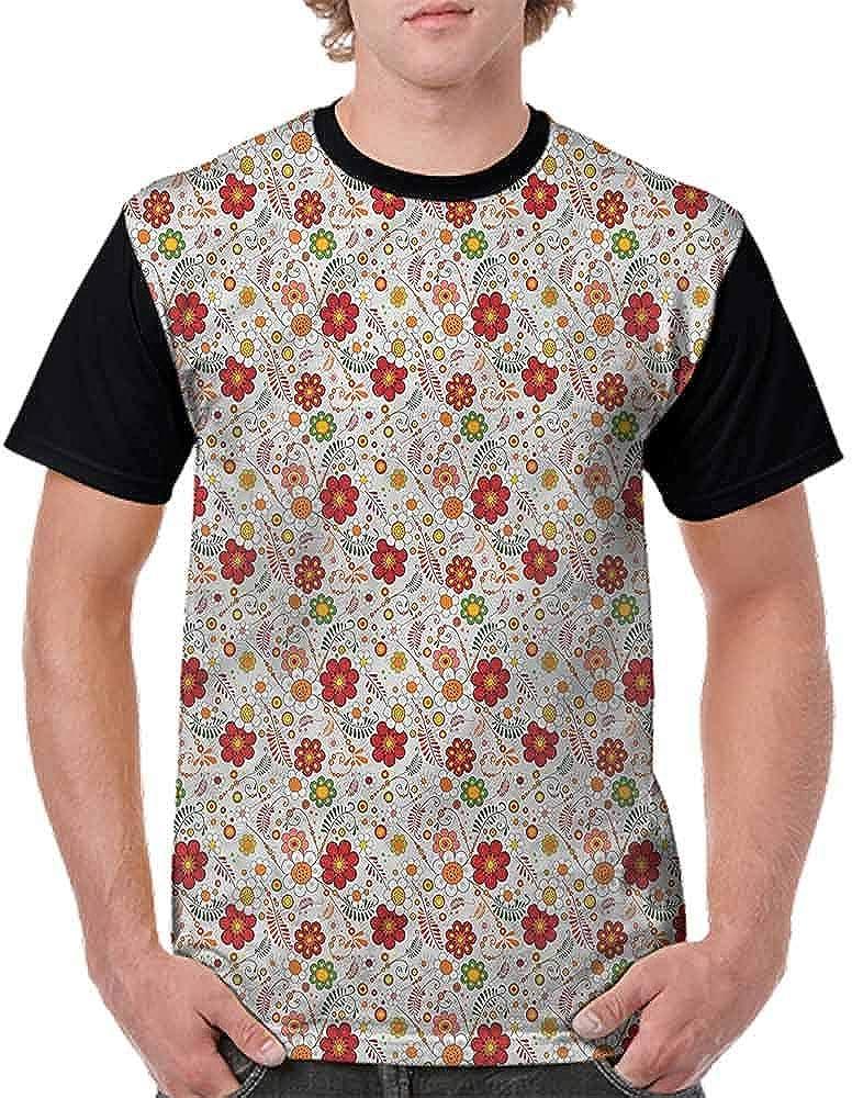 BlountDecor Performance T-Shirt,Chamomiles and Fern Branches Fashion Personality Customization
