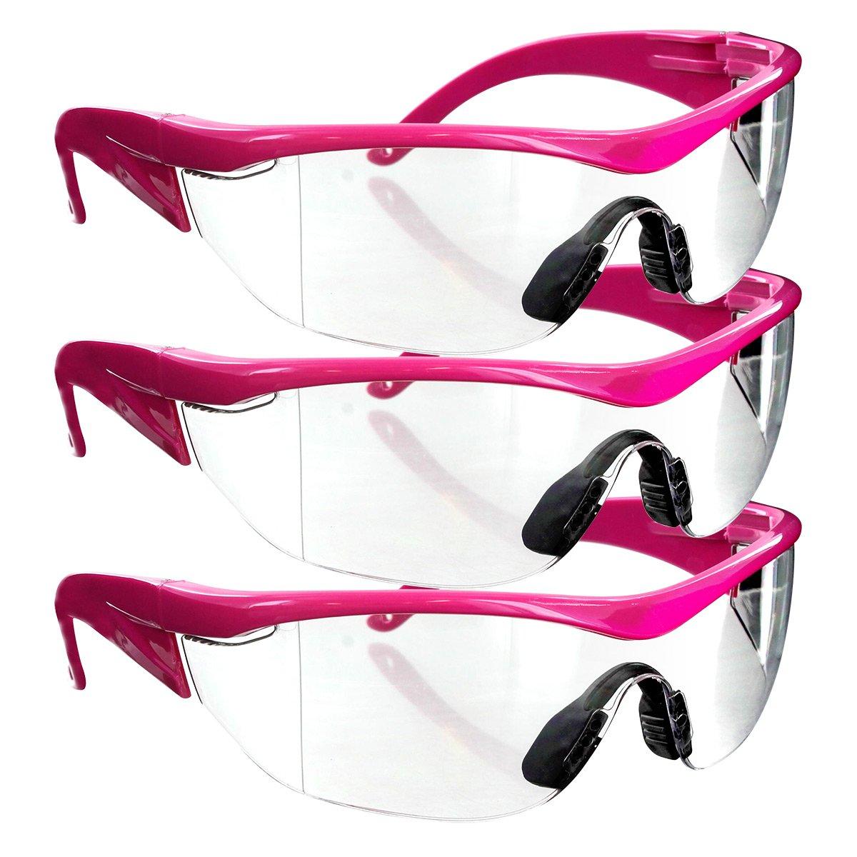 Safety Girl Navigator Safety Glasses (3 Pair-Pink Frame-Clear Lense)