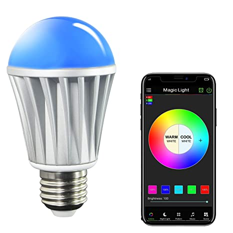 MagicLight Bluetooth Smart Light Bulb - 60w Equivalent Wake Up Lights -  Multicolored Color Changing Disco Light - Dimmable Sunrise Sunset Sleeping