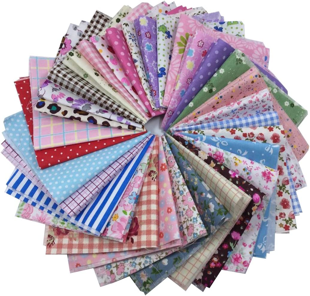 levylisa 50 Pieces Pre Cut Assorted Colours Cotton Squares Quilting Fabric,Patchwork Fabric Patchwork Quilting Sewing Fabric Patchwork Flower Dots DIY Quilting Handmade Craft 8 x 8 Inches