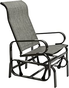 AbocoFur Patio Sling Fabric Rocker Chair, Outdoor Sturdy Steel Frame Glider Chair, Comfortable Rocking Lounge Chair for Garden, Backyard, Porch, All Weatherproof, Grey
