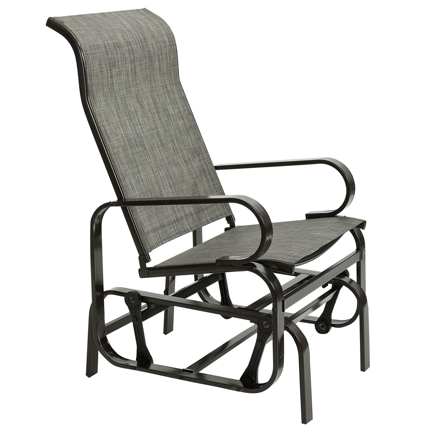 Amazon com artall patio sling rocker chair outdoor glider rocking lounge chair all weatherproof grey garden outdoor