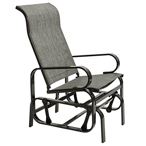 Marble Field Patio Sling Rocker Chair, Outdoor Glider Rocking Lounge Chair, All Weatherproof, Grey