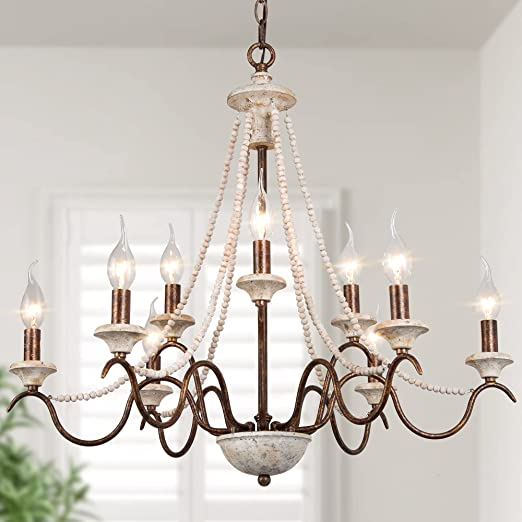 """Farmhouse Chandelier, 9-Light French Country Chandelier with Wood Bead Strings, Handmade Distressed Wood, 27"""" W x 24"""" H"""