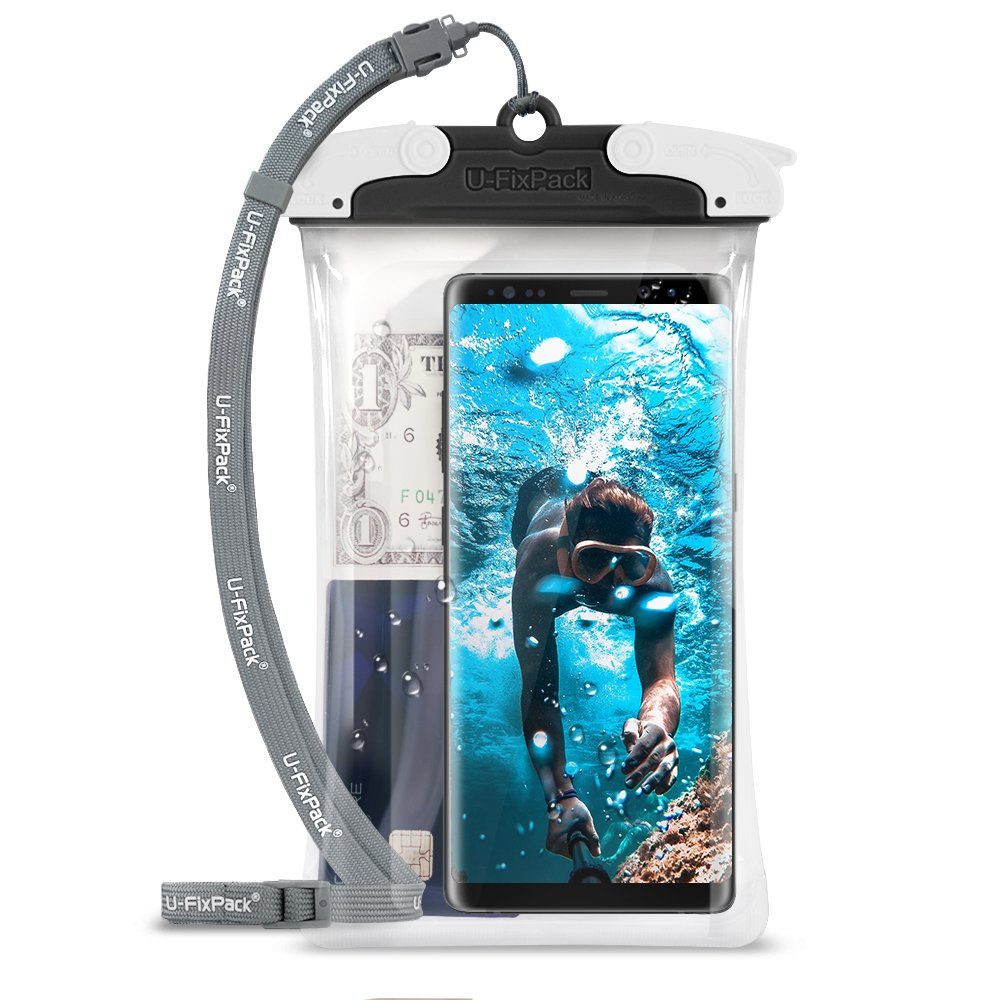 U-Fix ROUND Waterproof Universal Phone Case [Black] Clear Pouch Dry Bag for iPhone X, 8, 7 Plus, Samsung Galaxy S9, S9 Plus, S8, S8 Plus, Note 8, 6,Google Pixel 2, 2XL,LG up to 6.0'' Diagonal (Large)