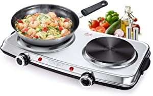SUNAVO Hot Plates for Cooking Electric Double Burner with Handles 1800W, Stainless Steel