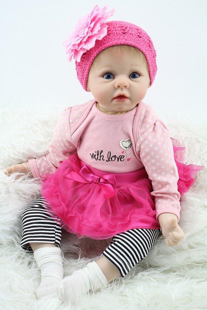 Npkdoll Reborn Baby Doll Soft Silicone 22inch 55cm Magnetic Mouth Lovely Lifelike Cute Boy Girl Toy Pink Flower Headdress by NPK