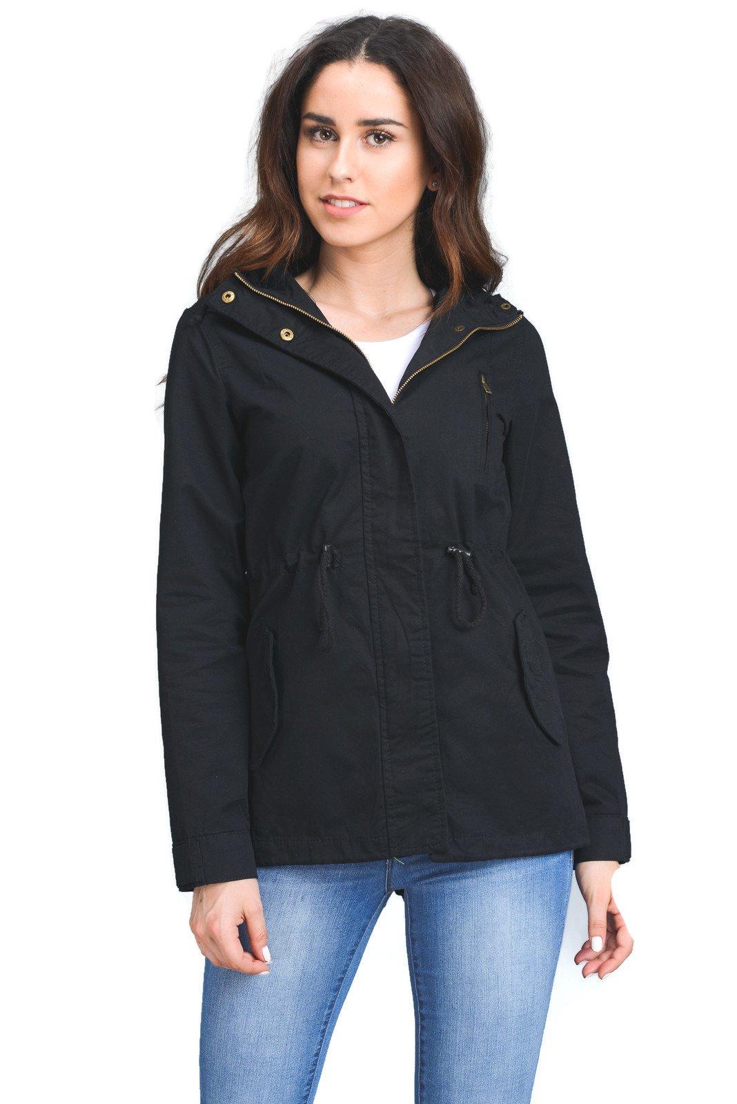 FASHION BOOMY Womens Zip Up Military Anorak Jacket W/Hood (Large, Black-43)