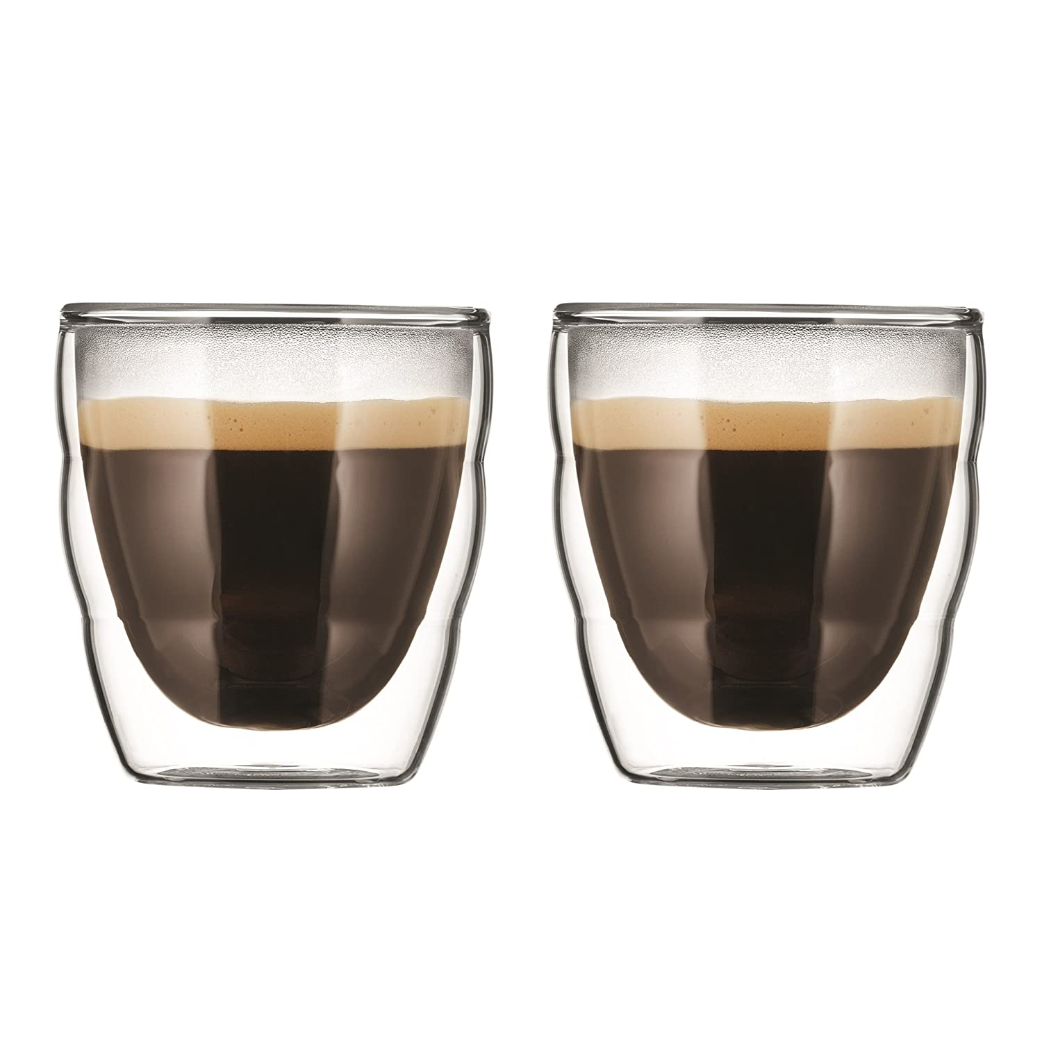 Bodum PILATUS Glass Set (Double-Walled, Isolated, Dishwasher Safe, 0.08 L, 3 oz) - Pack of 2, Transparent 11477-10