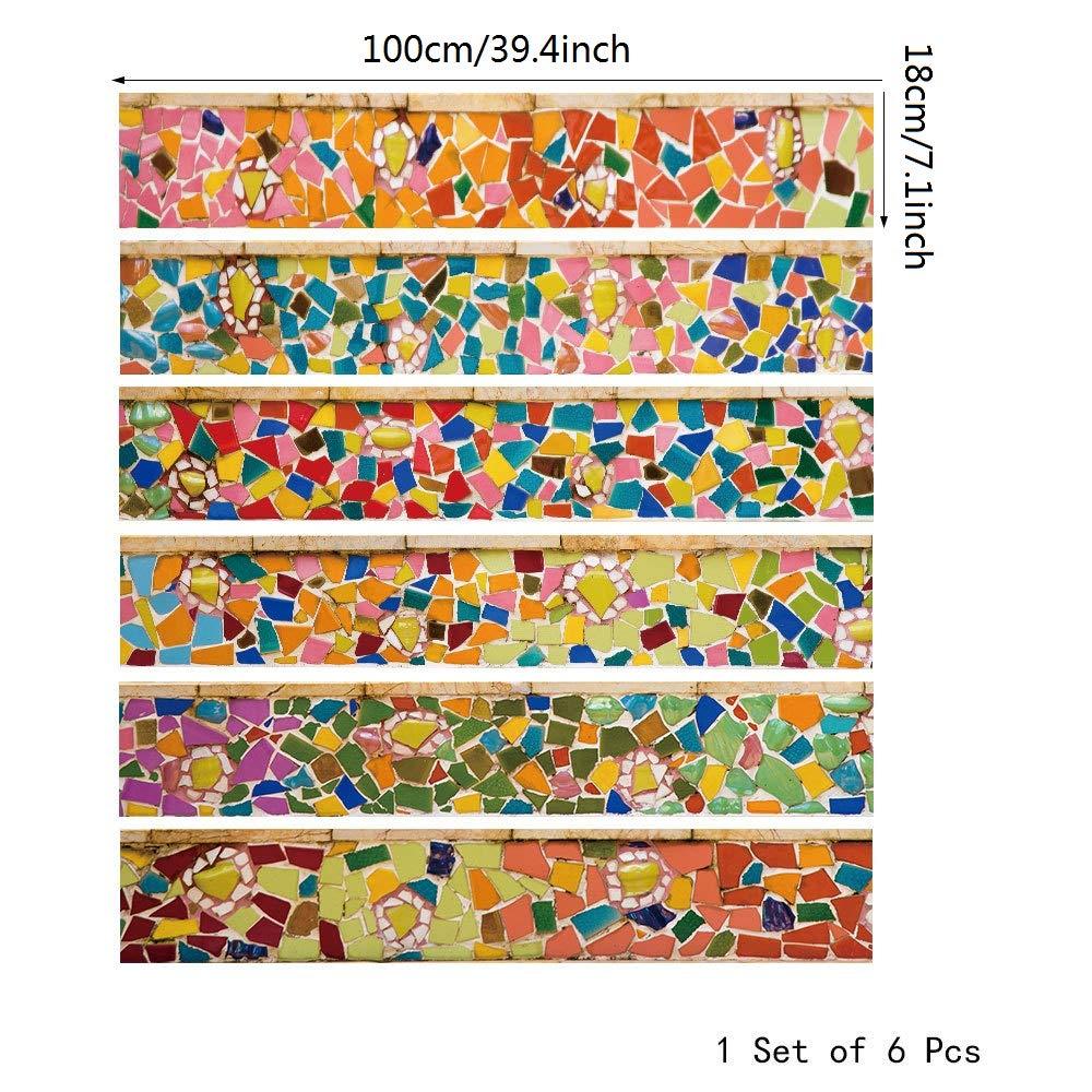 Azulejos de Colores Magiin 6pcs Pegatinas Adhesivos Autoadhesivos para Escaleras Cocina Piso Ba/ño Simulaci/ón Decoraci/ón de Pared Hogar Impermeable Extra/íble Etiqueta de Pared 18x100cm