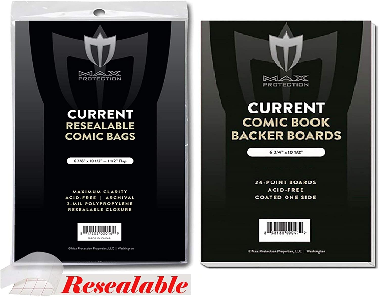 100 Qty= 100 Bags and 100 Boards by Max Pro Current Size RESEALABLE Ultra Clear Comic Book Bags and Boards