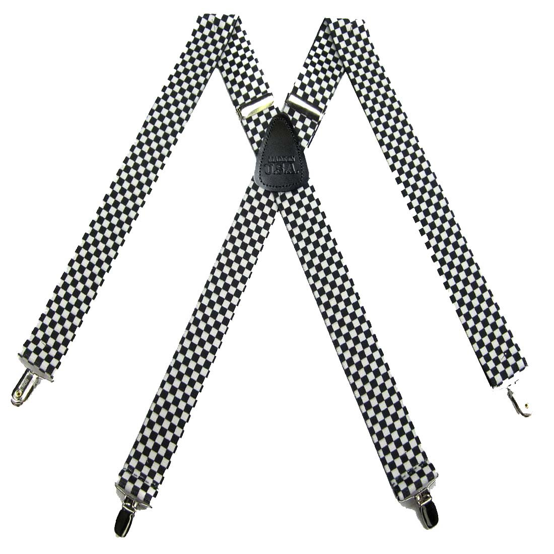 White Mens Checks Suspenders for pants trousers Made in the USA