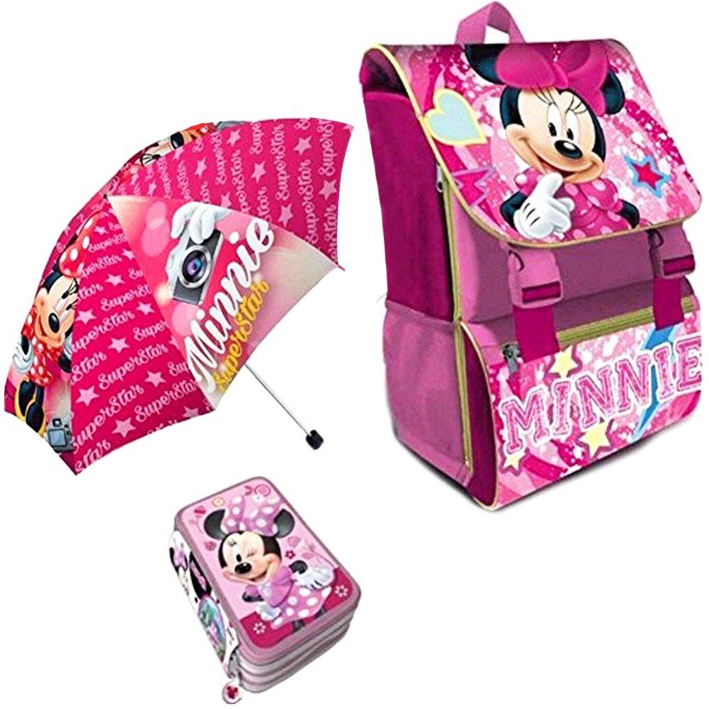 Kit Scuola 3 in 1 School Promo Pack Zaino Estensibile + Astuccio 3 Zip Accessoriato + Ombrello Salvaspazio Disney MINNIE Edizione Nuova BAK-MINNIE-2018