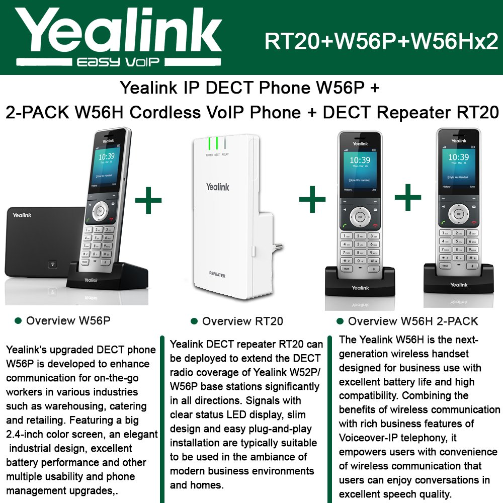 Amazon.com : Yealink W56P IP DECT Phone + 2PACK W56H Cordless VoIP Phone + DECT Repeater RT10 : Office Products