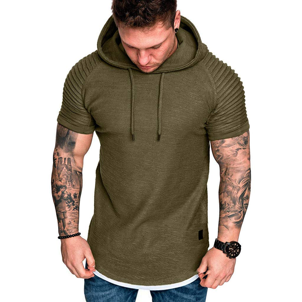NREALY Camisa Mens Slim Fit Casual Drape Pattern Large Size Short Sleeve Hoodie Top Blouse