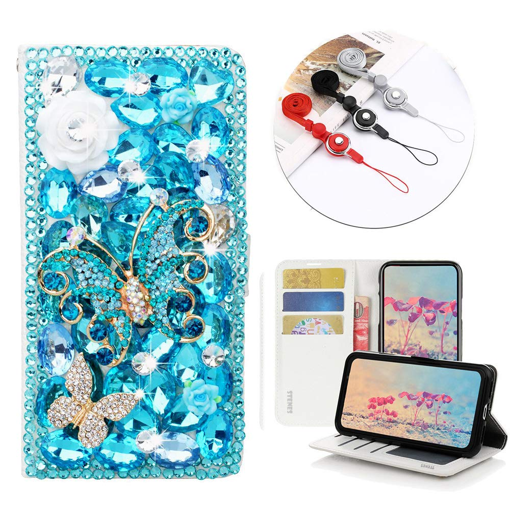 STENES Bling Wallet Phone Case Compatible with LG Tribute HD/LG X Style - Stylish - 3D Handmade Rose Flowers Butterfly Leather Cover with Neck Strap Lanyard [3 Pack] - Light Blue