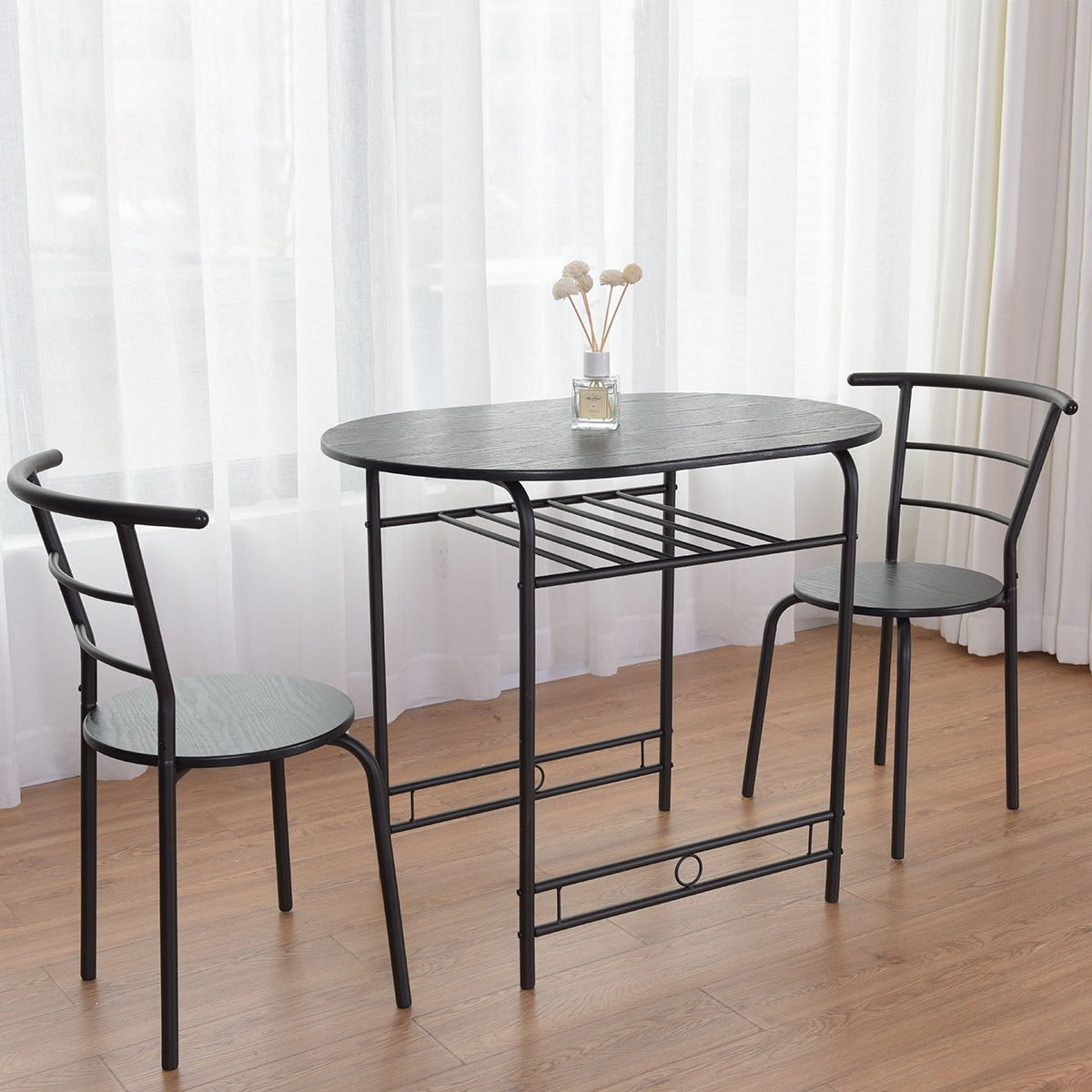 Giantex 3 PCS Dining Table Set w/1 Table and 2 Chairs Home Restaurant Breakfast Bistro Pub Kitchen Dining Room Furniture (Black) by Giantex (Image #3)