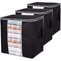 Lifewit Clothes Storage Bag 90L Large Capacity Organizer with Reinforced Handle Thick Fabric for Comforters, Blankets…
