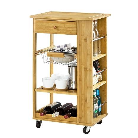 SoBuy® FKW12-B-N - Carrito camarera con ruedas de bambú, mueble almacenaje