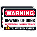 Faittoo Beware of Dog Sign, 2 Pack Large 10 x 7 Inches Thick 0.40 Rust Free Heavy Duty Aluminum - UV Printed - Fade Resistant - Reflective - Indoor or Outdoor Use - Easy to Mount