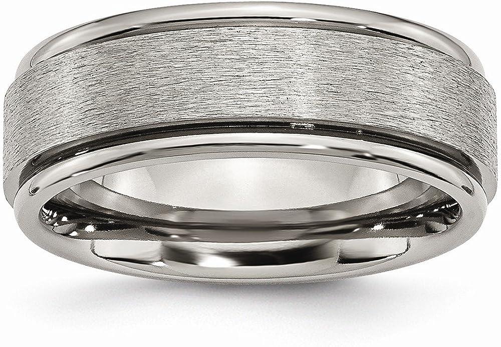 Jewel Tie Titanium Ridged Edge 8mm Satin and Polished Wedding Band