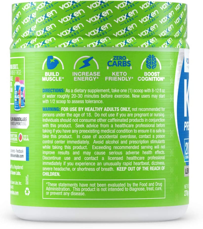 Vaxxen Labs Keto1 Ketogenic Preworkout – 278g, 20 Servings of Natural Caffeine Sources Like Green Tea Extract for Energy, Nootropics for Mental Focus, Pump Ingredients, and BHB to Stay in Ketosis: Health & Personal Care
