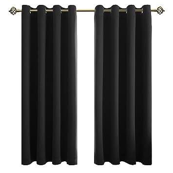 FLOWEROOM Schwarz Verdunkelungsvorhänge Blickdichte Gardinen Mit Ösen 2  Stück 175x140cm(HxB) Für Schlafzimmer/
