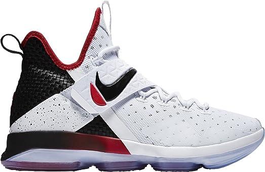 Nike Men's LeBron 14 Basketball Shoes (White/Black/Red, 14.0 - Medium