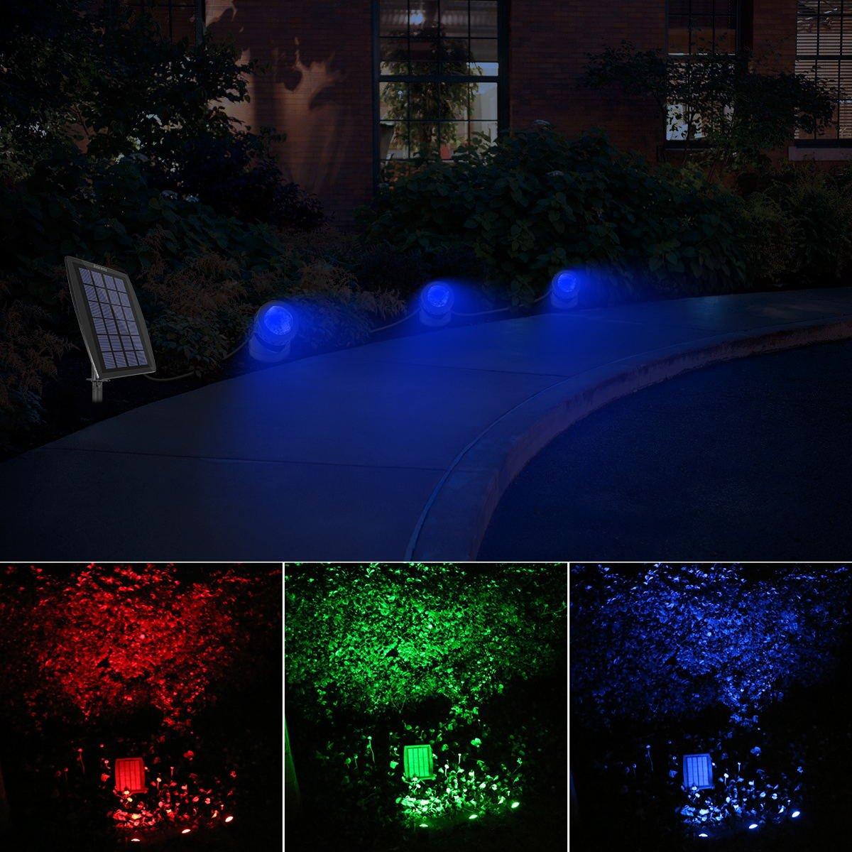 Ankway Luce Solare da Esterno Faretti bianco Lampada Solare sottacqua Faretti per esterni Impermeabile IP68 Luci Subacquee Solare per Giardino Vialetto Percorso e Cortile Auto On//Off-White