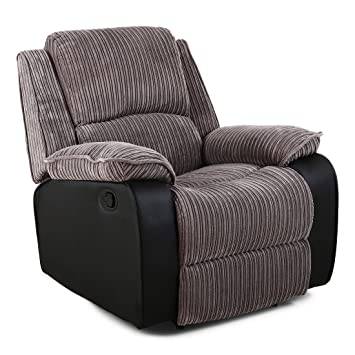 POSTANA JUMBO CORD FABRIC RECLINER ARMCHAIR SOFA LOUNGE HOME RECLINING CHAIR  (Grey)