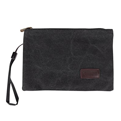 Vintage Men Wrist Clutch Bag Wristlet Bag Handbag Canvas Purse Wallet  Mobile Phone Bag Pouch Portable 39fbb34ce496e