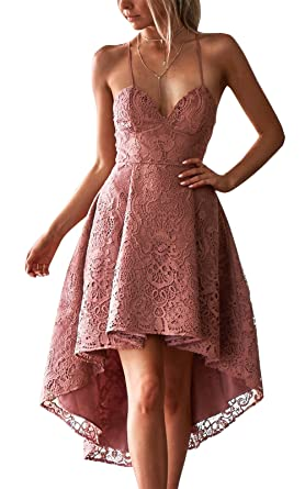 LANOMI Womens Formal Lace Prom Dress Spaghetti Strap V Neck Slim Dress Bridesmaid Gown UK 6