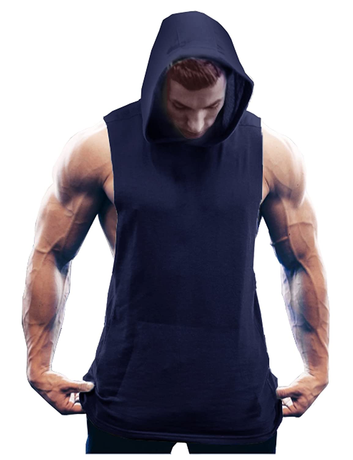 011cb9c53 Mens hooded muscle gym shirt with sleeveless design,solid colors,kangaroo  pockets in front, and the Loose & Stringer cutting ...