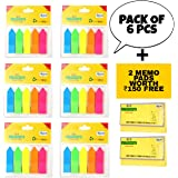 JD9 Sticky Notes, Mini Text Highlighter Strips 6 Sets Neon Colored Index Tabs Arrow Flags Fluorescent Sticky Note for Marking for Page Marker (Total 750 Flags).