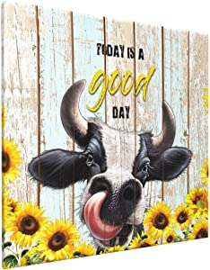 Rustic Cow Wall Art Sunflower With Cow-Today Is A Good Day Wall Decor Country Theme Canvas Print Picture Artwork For Kitchen Bathroom Framed Ready To Hang 16x16inch