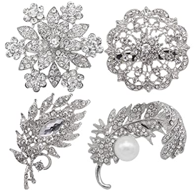 a58eea72310 Image Unavailable. Image not available for. Color: eGlomart 4pcs Set  Vintage Style Silver Brooches for Women Wedding Bouquet Kit Pin ...