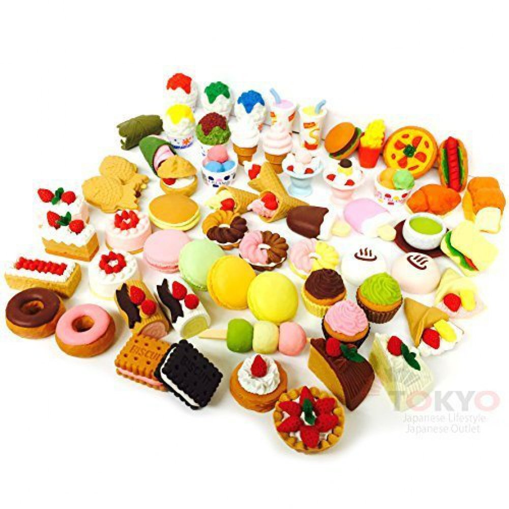 20 of Assorted SWEET DESSERT FOOD CAKE Japanese Puzzle Eraser IWAKO (20 will be randomly selected from image shown)