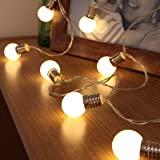 Mini Festoon String Lights - Battery Operated - Frosted Bulb - 10 Warm White LEDs - 1.5m by Festive Lights
