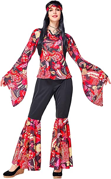 icewalker Disfraz de hippie para mujer con diadema para disco ...