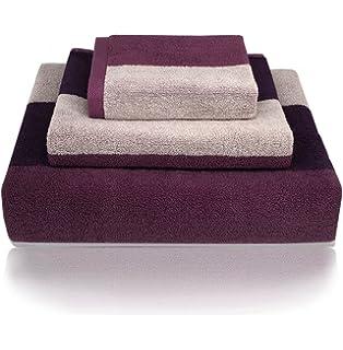 YNester - 3 toallas de 100% algodón de rayas naturales ecológicas de lujo Juego de