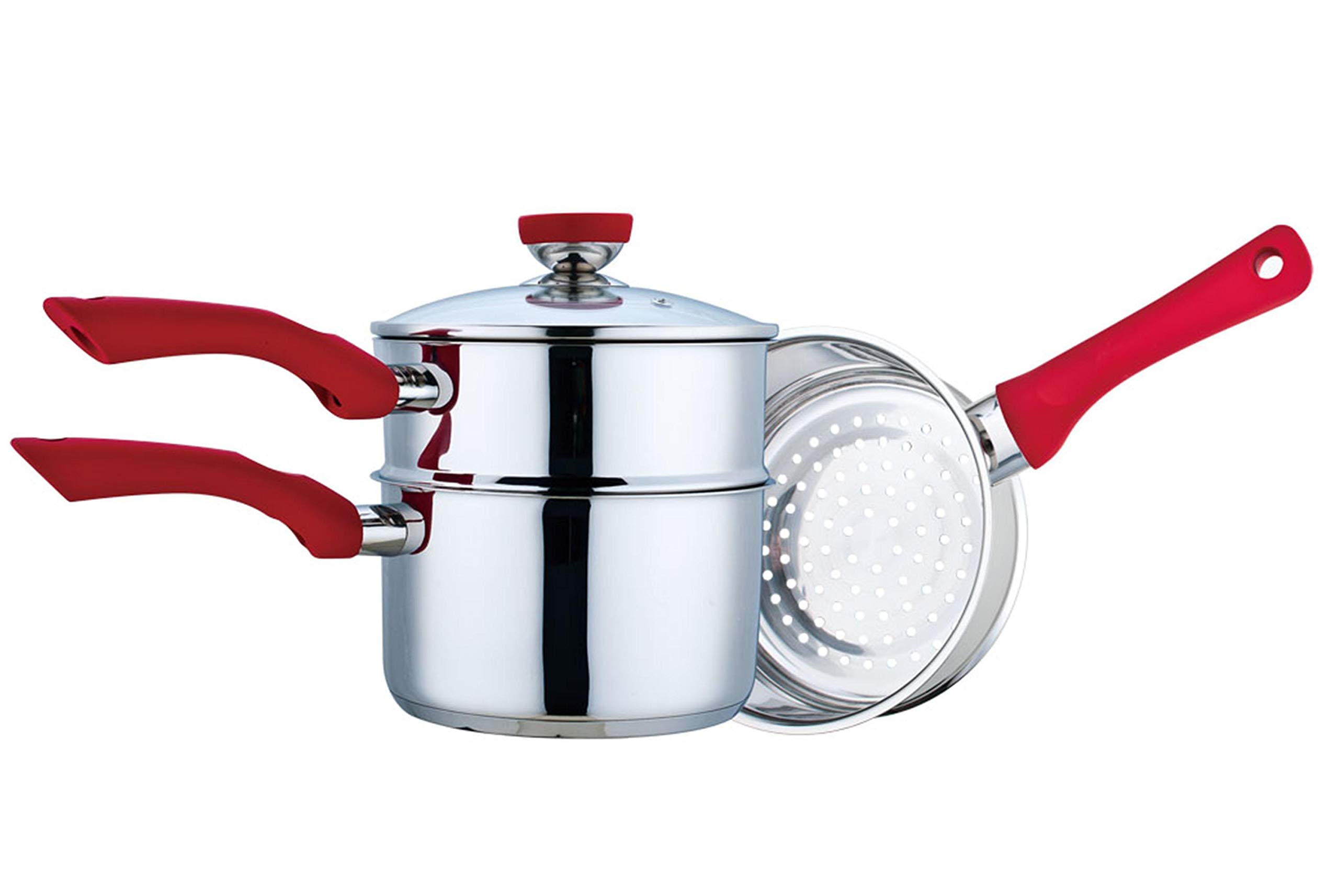 Culinary Edge Stainless Steel Nonstick 4-Piece Double Boiler Set Saucepan and Steamer