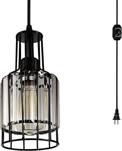 Creatgeek Plug in Industrial Pendant Light Fixture with 16.4 Ft Cord and in-Line On Off Dimmer Switch, Unique Swag Hanging Crystal Lamp for Bar, Night Stand, Kitchen Island, Dining Room, Entryway